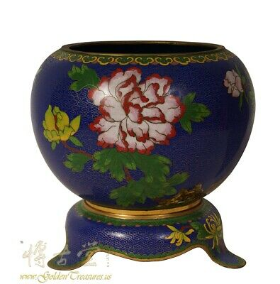 Vintage Chinese Cloisonne Bowl - Floral pattern