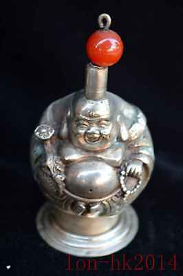 Chinese Collectable Miao Silver Hand Carve Buddha Exorcism Souvenir Snuff Bottle
