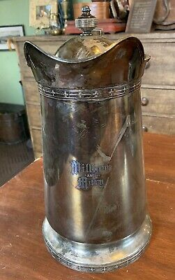 "Old Gorham Silverplate Lidded 1867 Water Serving Pitcher, ""William and Mary"" 13"""
