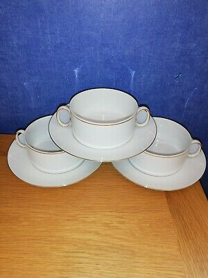 Thomas china Thin  Gold Band Soup Bowls and saucers x 3 Approx 10cm diameter