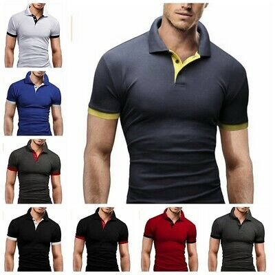 US Men's V-Neck Slim Fit T-shirts Casual polo shirt Short Sleeve Outfit Top Tee
