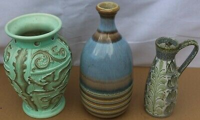 3 Large Decorative Old Vases Includes Burliegh Ware One With Embossed Griffins