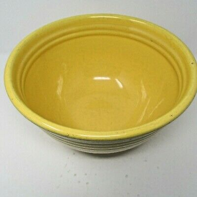 """1 1Bauer Pottery Large Mixing Or Dough Bowl 11 1/2"""" Wide Ribbed Pattern"""