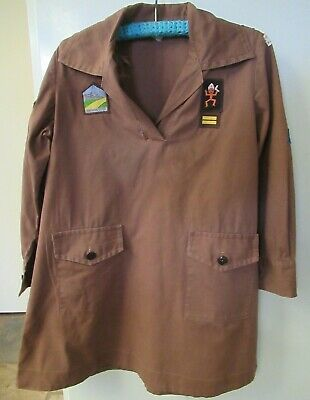 BROWNIE GUIDE c1970s Girl's Uniform Size 28 with 11 badges/patches Achievement