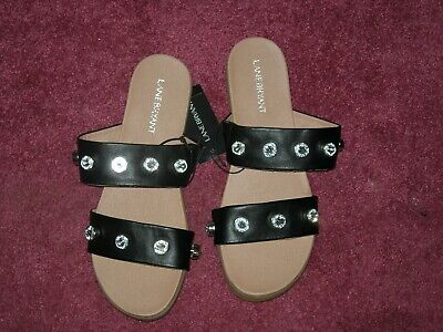 5331e07f2c5 LANE BRYANT Wide Width Shoes 2 Band Black Sandals w  Faceted Stones 8W