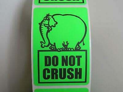 DO NOT CRUSH green fluorescent elephant 2x3 Warning Stickers Labels 250/rl
