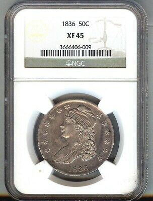 1836 CAPPED BUST SILVER 50c  XF/AU = NGC XF45 LOTS OF LUSTRE
