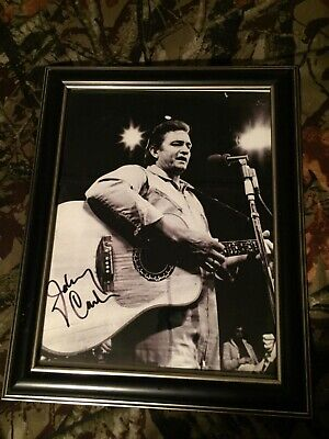 Signed Autograph Johnny Cash - Promotional Photo W/ Cd Collection Falsom Prison