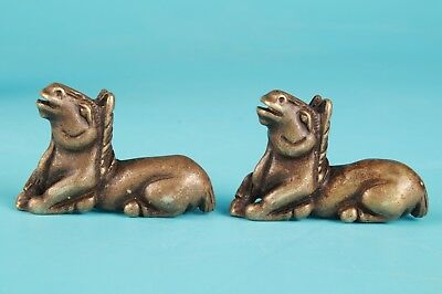2 Unique ChinA Bronze Animal Horse Mascot Solid Collection Gift Decoration
