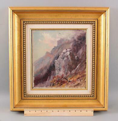 Antique 19thC William Gedney Bunce, Mountain Mountainside Landscape Oil Painting