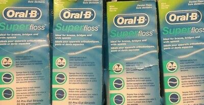 4 damaged boxes-Oral B Super Floss Mint Dental Floss Pre Cut Strands 50 Each