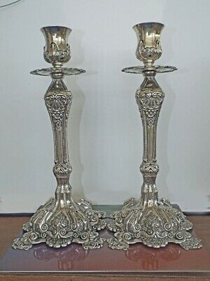 Exquisite Silver Baroque Ornate Candlestick Set