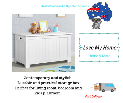 Large Kids Toy Box White Wooden Storage Chest Cabinet Clothes Blanket Containers
