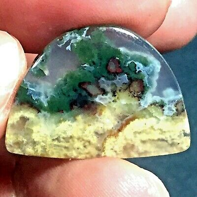 15ct AAA NATURAL Green Brown RED GARDEN MOSS AGATE ~3-dimensional PICTURE~