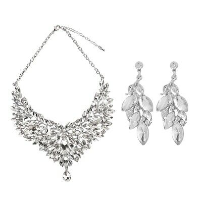Prom Wedding Party Bridal Jewelry Diamante Crystal Necklaces Earrings Sets Gifts