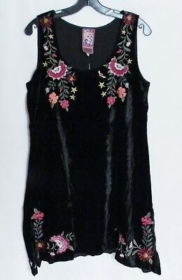 NWT JOHNNY WAS LENNON BUTTON DOWN SHIRT TUNIC TOP EMBROIDERED VELVET BACK SZ XL