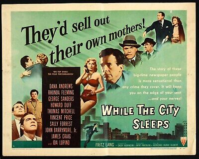 16mm WHILE THE CITY SLEEPS-1956.Fritz Lang b/w Film Noir feature film. VS odor