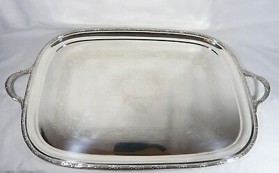 """VERY Large Heavy Silver Plate Serving TRAY 28 1/2""""  Butler LAUREL BRANCH  BORDER"""