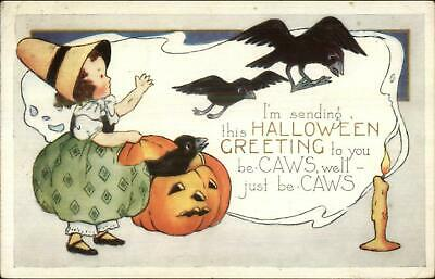 Halloween Little Girl JOL Crows WHITNEY c1915 Postcard