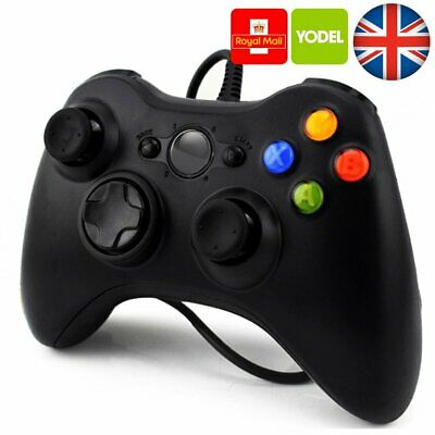 xBox 360 Controller Gamepad USB Wired For Xbox 360 PC Black UK New Sealed H213