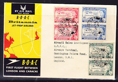 Barbados 1958 BOAC Jet Propliner to London PAIRS  Flight Cover