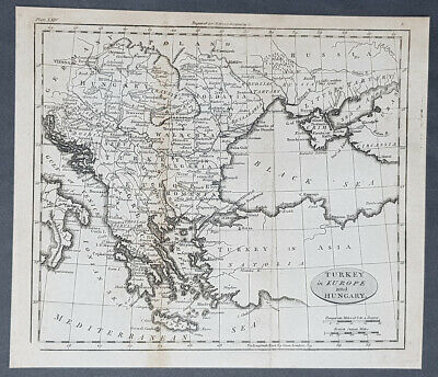 1802 William Darton Antique Map of Turkey in Europe and Hungary
