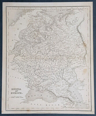 1835 John Dower Antique Map of Russia in Europe