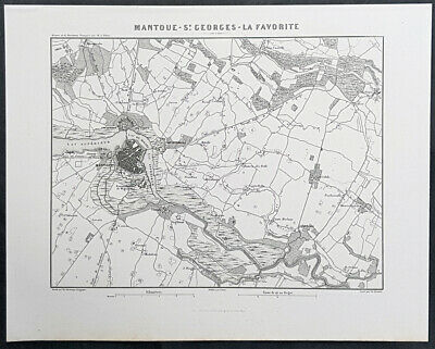 1835 M A Thiers Antique Military Map Battle of Mantua, Italy - Napoleon 1786