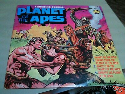 Vintage Planet Of The Apes  Lp Record 1974 Power Records 4 Exciting Stories