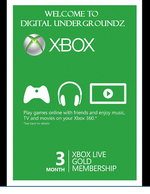 Microsoft Xbox Live Subscription 3 Month Gold  {Perfect Email Delivery}