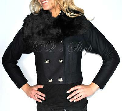 New Womens Juicy Couture Wool Jacket Detachable Faux Fur Collar M Navy Blue