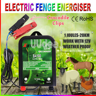 12V Range Power Electric Fence Energiser Charger Poly Wire Tape Posts  20km AU