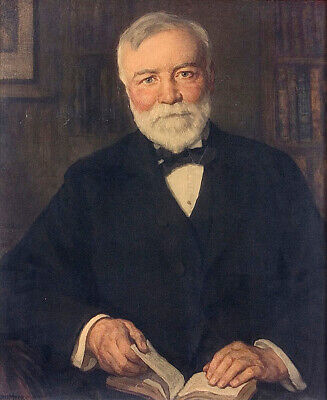 """Hand Painted Portrait Oil Painting On Canvas : """"Andrew Carnegie"""" 67435"""
