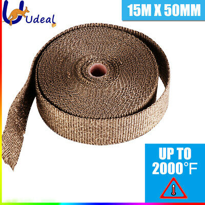 Titanium Exhaust Wrap Header Pipe Tape Heat Protection  15mx50mm 2000F AU STOCK