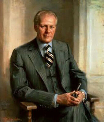 """Hand Painted Oil Painting On Canvas : """"Gerald Rudolph Ford Jr."""" 24""""X36"""" 64677"""