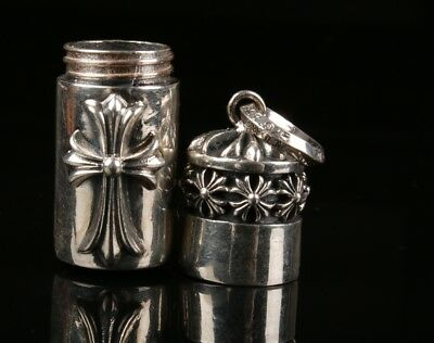 26g True 925 Silver Cross Handmade Snuff Box Necklace Pendant Old