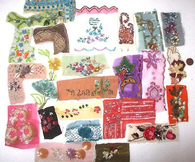 "VERY RARE LOT Vintage Sari TRIM LACE RIBBON 25 Pcs BEADS SEQUINS 2"" TO 4"" DOLL 1"