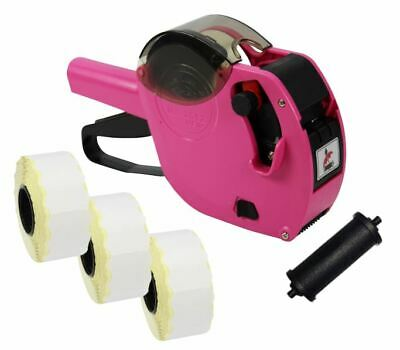 Pink Motex 2612 Date Coding Gun + White Peelable Labels & Spare Ink