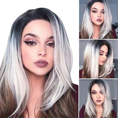 ladies medium Short Straight Bob Wig lace wigs Womens colored grey cosplay Hair