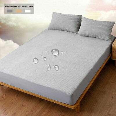 Waterproof  Fitted Sheet Bed Cover Terry Towel Mattress Protector ju