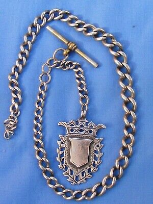 Antique Sterling Silver Single Albert Watch Chain And Fob, Graduated Links.