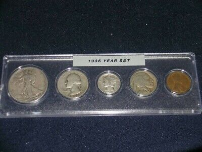 1936 Vintage Circulated Year Set - Nice 5-Coin set