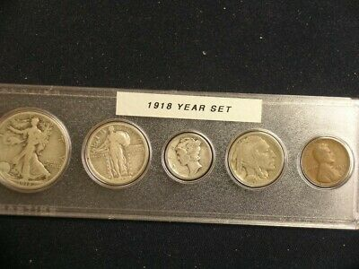 1918 Vintage Circulated Year Set - Nice 5-Coin set