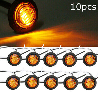 10X Amber Yellow Small Round Side Marker lights 3 LED Button lamps lorry 12V//24V