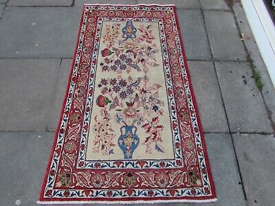Old Hand Made Traditional Persian Oriental Wool Cream Red Small Rug 160x90cm