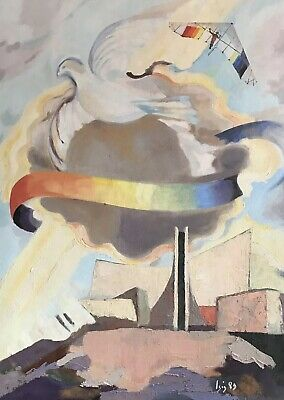 Large Signed French Surrealist Abstract Oil - Dove In Sky With Hang-Glider