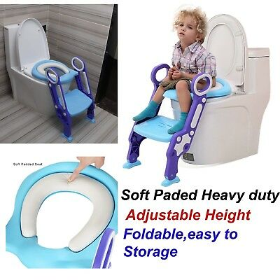 Childrens Toilet Seat Ladder Toddler potty Training Step Up For Kids Easy Fold