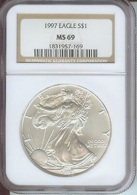 1997 American Silver Eagle S$1 ASE NGC MS69 MS-69 Premium Quality PQ+ !!!