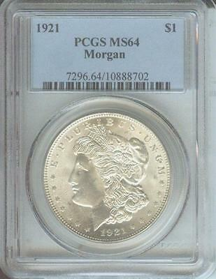 1921 ( 1921-P ) MORGAN SILVER DOLLAR S$1 PCGS MS64 MS-64 Toned Near GEM !