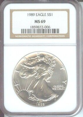 1989 American Silver Eagle S$1 ASE NGC MS69 MS-69 Premium Quality PQ+ !!!